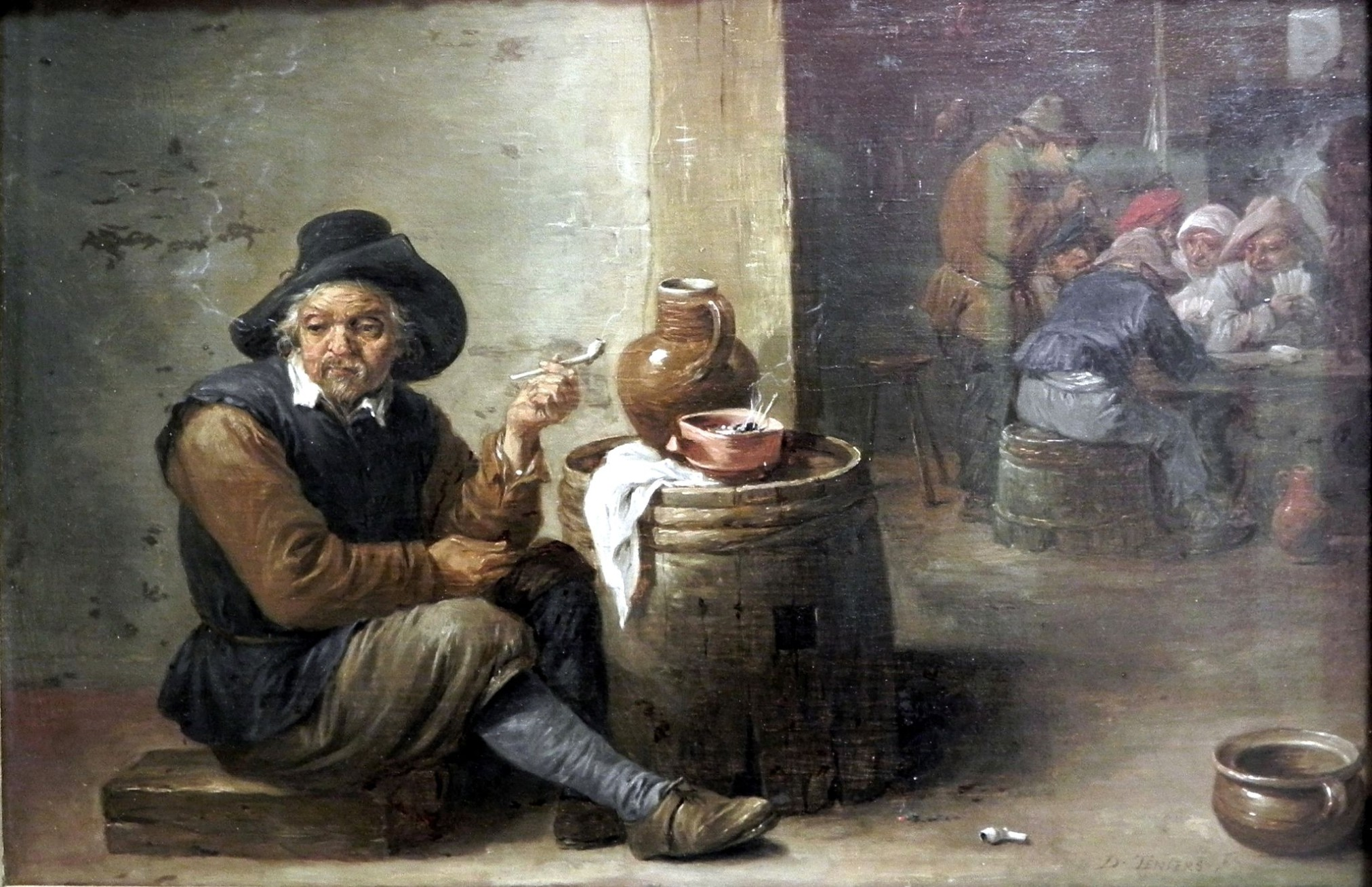"""Alter Raucher"" von David Teniers dem Jüngeren  [Public domain], via Wikimedia Commons"